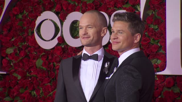 neil patrick harris and david burtka at 2016 tony awards red carpet at the beacon theatre on june 12 2016 in new york city - 70th annual tony awards stock videos and b-roll footage