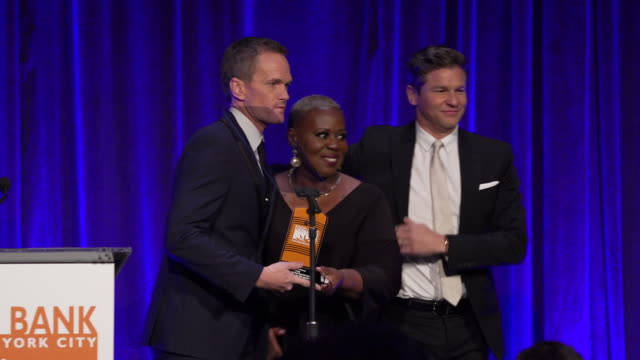neil patrick harris and david burtka talk about the significance of being honored at the food bank for new york city can-do awards at cipriani wall... - ニール・パトリック・ハリス点の映像素材/bロール