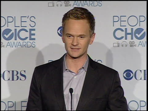 neil patrick harris on winning an award at the 2011 people's choice awards - press room at los angeles ca. - people's choice awards stock videos & royalty-free footage