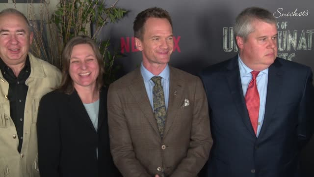 """neil patrick harris, ted sarandos, barry sonnenfeld and daniel handler at lemony snicket's """"a series of unfortunate events"""" world premiere presented... - neil patrick harris stock videos & royalty-free footage"""