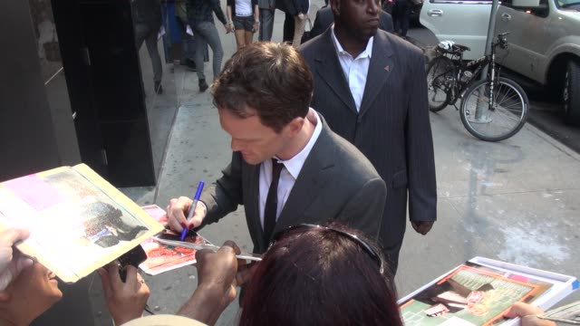 neil patrick harris wearing red nail polish exits the good morning america show signs for fans before leaving in celebrity sightings in new york - red nail polish stock videos and b-roll footage