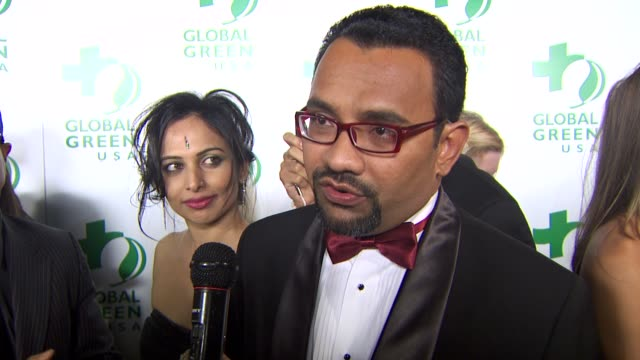 neil purshard creator of bollywood awards on being a part of the night at the global green usa's 7th annual pre-oscar party at hollywood ca. - oscar party stock videos & royalty-free footage