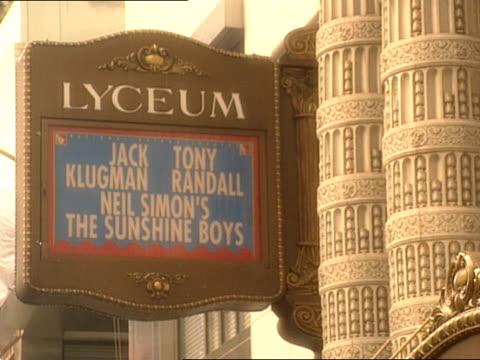 neil simon's the sunshine boys appears on the marquee of the lyceum theater. - neil simon bildbanksvideor och videomaterial från bakom kulisserna