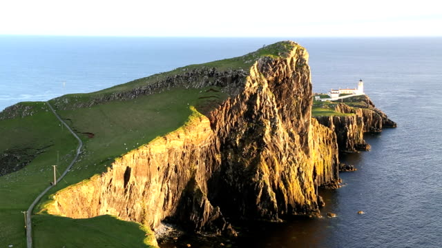 neist lighthouse neist point inner hebrides skye scotland - hebrides stock videos & royalty-free footage