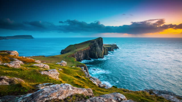neist point lighthouse, isle of skye, scotland, uk - time lapse - scenics stock videos & royalty-free footage