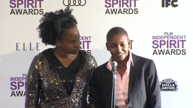 nekisa cooper and dee rees on how it feels to win at 2012 film independent spirit awards press room on 2/25/2012 in santa monica ca - independent feature project stock videos and b-roll footage