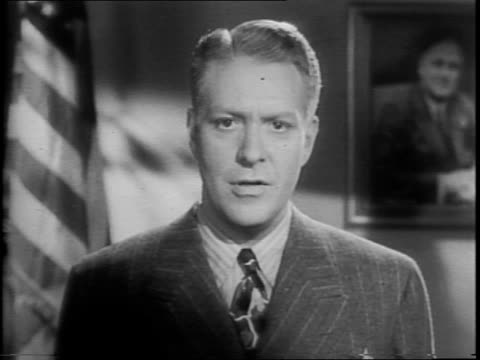 nelson eddy speaking to the camera asking them to lend money to uncle sam and buy war bonds and stamps that pay for the war effort - uncle sam stock videos & royalty-free footage
