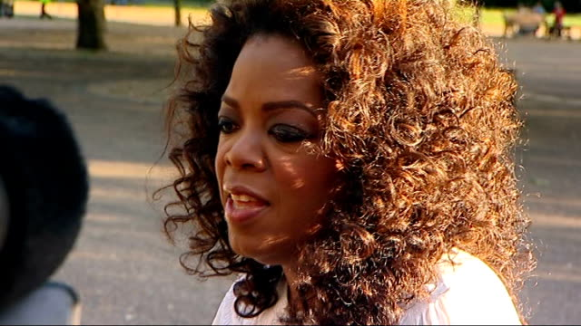nelson mandela 90th birthday dinner in hyde park celebrity arrivals oprah winfrey arriving and speaking to press sot - oprah winfrey stock videos & royalty-free footage