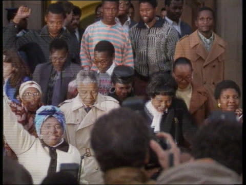 Nelson Mandela and wife Winnie leave court following her guilty verdict