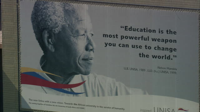 AERIAL CU ZO WS Nelson Mandela billboard at University of South Africa, Pretoria, Gauteng, South Africa