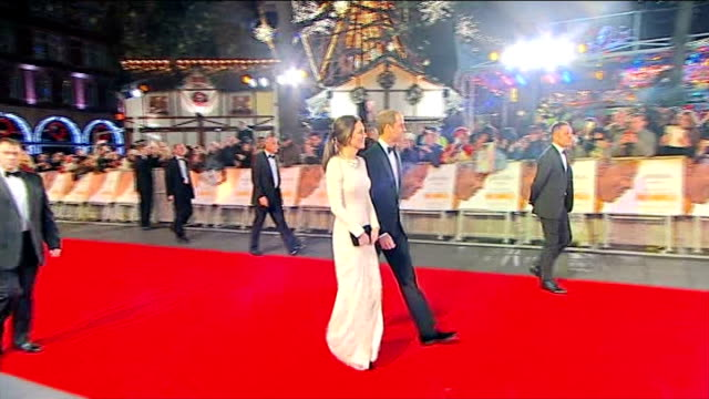 Nelson Mandela death reaction Leicester Square Odeon EXT / NIGHT ***FLASH Prince William and Catherine Duchess of Cambridge arriving for London...
