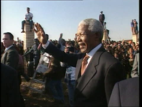 nelson mandela greets well wishers in soweto during the last week of his presidency - nelson mandela stock videos and b-roll footage