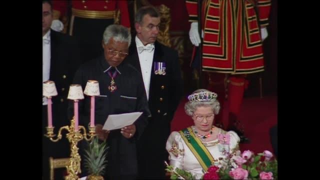 day 1 buckingham palace banquet england london buckingham palace int nelson mandela speech sot part 2 of 2 alongside queen elizabeth ii queen... - geometric stock videos & royalty-free footage
