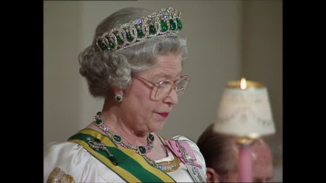 day 1 buckingham palace banquet england london buckingham palace int queen elizabeth ii speech sot part 2 of 2 alongside nelson mandela but i am sure... - excitement stock videos & royalty-free footage