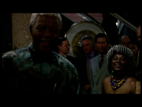 nelson mandela visiting brixton with prince charles nelson mandela singing dancing with african women sky news nelson mandela footage at brixton on... - 1996 stock videos & royalty-free footage