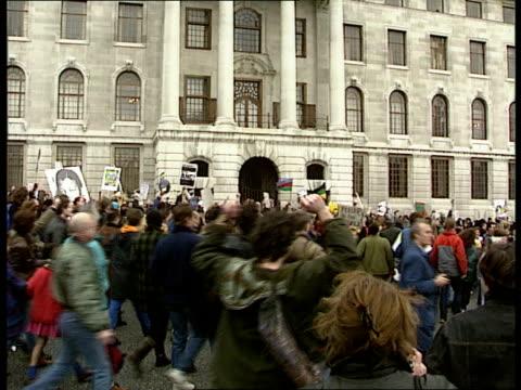 Nelson Mandela visits Britain LIB GVs Anti Apartheid demonstrators in square during protest