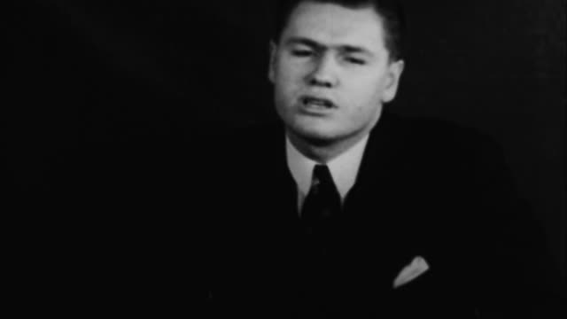 nelson rockefeller speaking about industry adopting five day work week and subsequent benefits / usa - ネルソン a ロッカフェラー点の映像素材/bロール