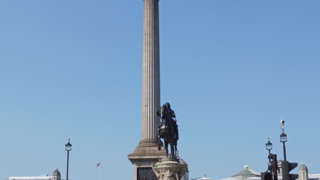 nelson's column and an empty trafalgar square on may 02 2020 in london england the uk remains in full lockdown due to the coronavirus pandemic which... - editorial stock videos & royalty-free footage