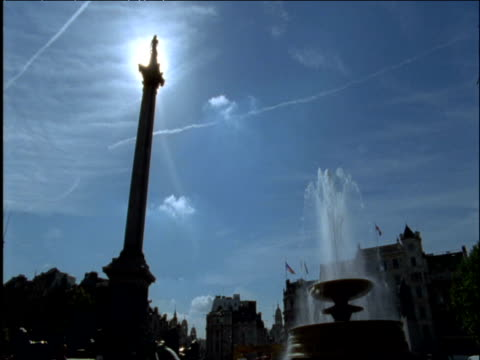 nelson's column and fountains trafalgar square london - nelson's column stock videos & royalty-free footage