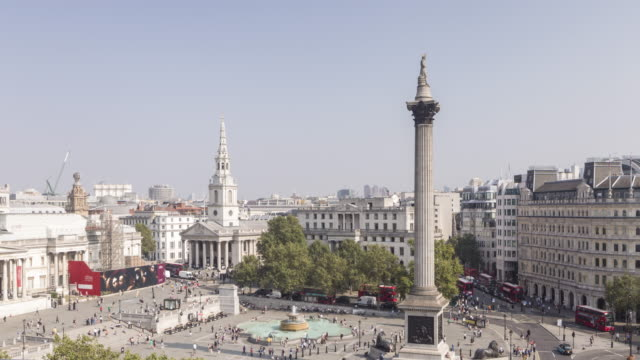 nelson's column and trafalgar square, london - nelson's column stock videos & royalty-free footage