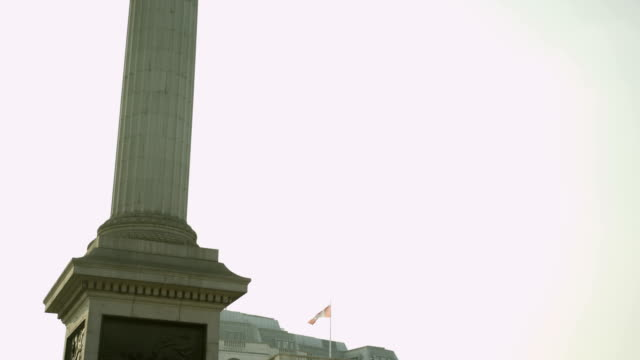 nelson's column at trafalgar square on nice sunny day - charing cross stock videos and b-roll footage
