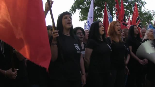 neo nazi party golden dawn and its supporters rally in central athens in a bid to stir up support and capitalise on voter anger over the current... - greece stock videos & royalty-free footage