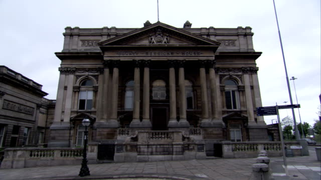 Neoclassical architecture characterizes the County Sessions House in Liverpool, England. Available in HD.