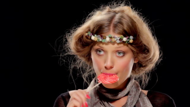 neo-hippy girl with lollipop - lollipop stock videos and b-roll footage