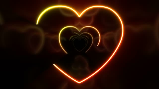 neon abstract background hearts - line art video stock e b–roll