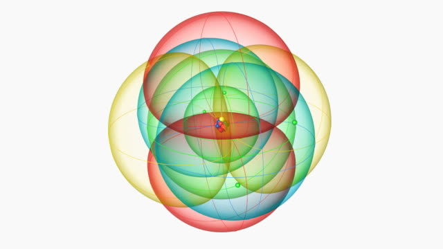 neon atom. diagram of an atom of the element neon, showing the central nucleus surrounded by electron orbitals. - neutron stock-videos und b-roll-filmmaterial