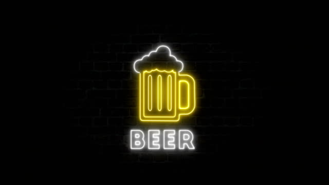 neon beer on the wall - casino sign stock videos & royalty-free footage