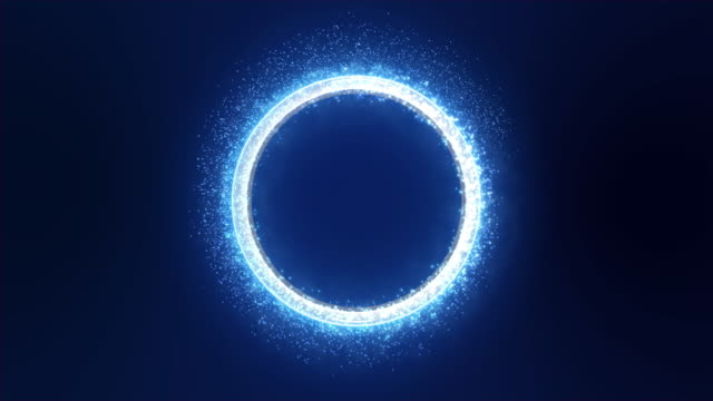 Neon Blue Light with Sparkle and Smoke Trail Creates a Round Metallic Three-dimensional Ring. Dark Blue Background.