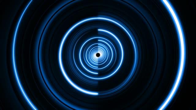 vídeos de stock e filmes b-roll de neon blue looped turning lights circle background - vídeo musical