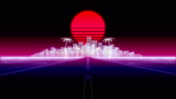 neon city palms road 80 Retro Background 3d render