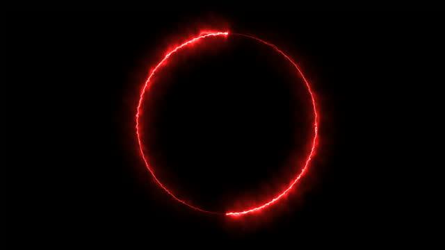 cerchio di fuoco al neon - neon video stock e b–roll
