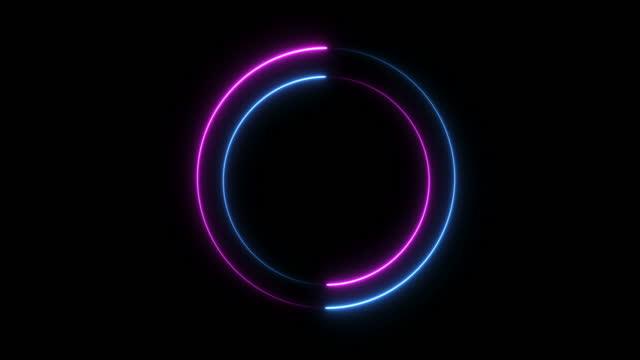 vídeos de stock e filmes b-roll de neon fire circle - forma de comunicação