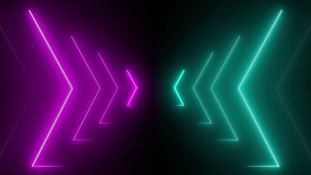 neon glowing arrows symbols - arrow symbol stock videos & royalty-free footage
