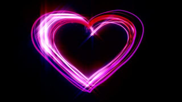 Neon heart scribble HD