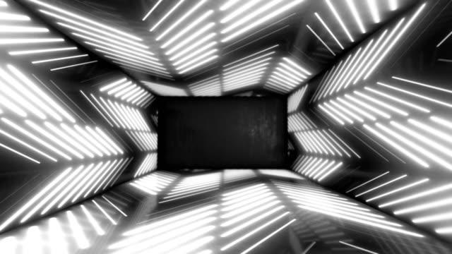 vídeos de stock, filmes e b-roll de luzes brilhantes de neon stargate loop abstrato fundo 4k - luz de led