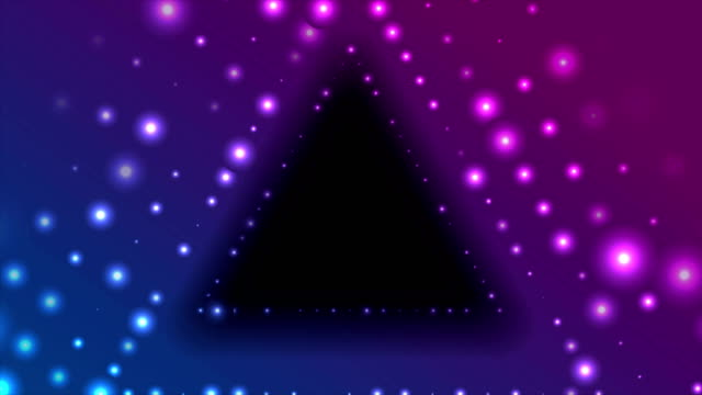 Neon led lights abstract tunnel triangle video animation