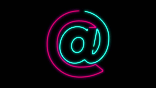 4k neon light at symbol animation on black background - 'at' symbol stock videos and b-roll footage