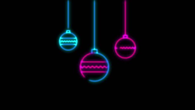 stockvideo's en b-roll-footage met 4k neon licht kerst decoratie animatie op zwarte achtergrond - kerstversiering