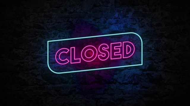 4k neon light closed sign animation on the brick wall - closed sign stock videos & royalty-free footage