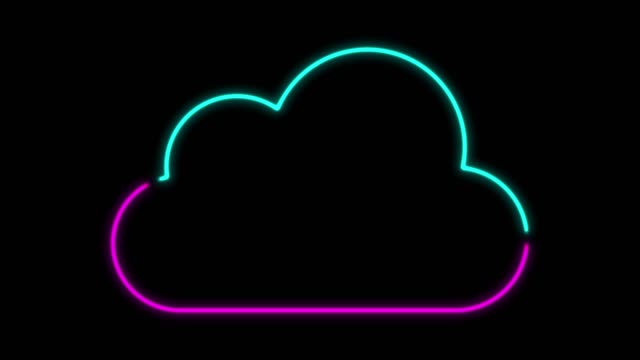 4k neon light cloud computing icon animation on black background - cloud computing stock videos & royalty-free footage