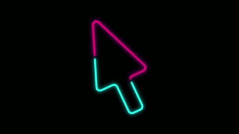 stockvideo's en b-roll-footage met 4k neon licht cursor pijl animatie op zwarte achtergrond - arrow symbol