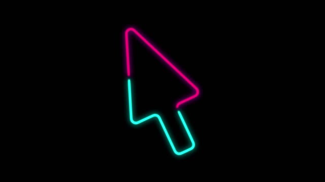 4k neon light cursor arrow animation on black background - arrow symbol stock videos & royalty-free footage