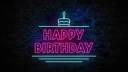 4K Neon light Happy Birthday animation on the brick wall