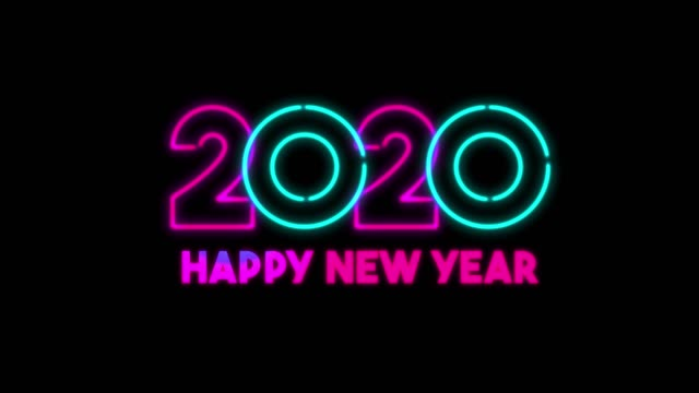 4k neon light happy new year animation on black background - 2020 stock videos & royalty-free footage