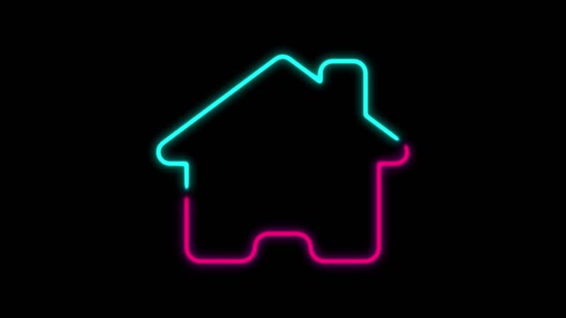 4k neon light home icon animation on black background - square stock videos & royalty-free footage