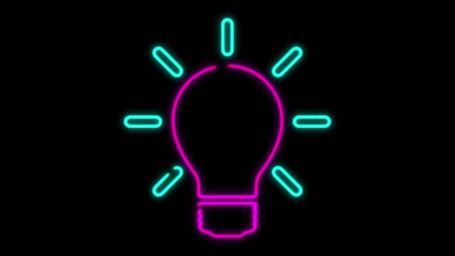 vidéos et rushes de animation de lumière de lumière de néon 4k sur le fond noir - ampoule